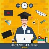 Dystansowy uczenie Online edukacja projekt również zwrócić corel ilustracji wektora Obraz Stock