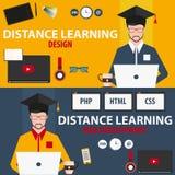 Dystansowy uczenie Ustalona online edukacja Projekt, sieć rozwój Zdjęcia Royalty Free