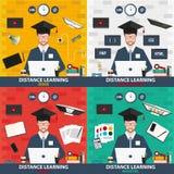 Dystansowy uczenie Ustalona online edukacja Projekt, sieć rozwój, writing, marketing Obrazy Royalty Free