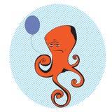 Dyster bläckfisk med ballongen Arkivfoto