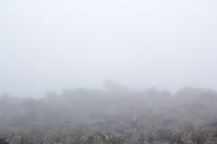 Dystert berglandskap Fördunkla i bergen, svårmodet kommer ner från bergen Bergplacer i dimman Arkivfoto