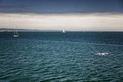Dystert väder på havet Mörkt - blått vatten med yachter som seglar på det arkivbild