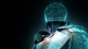 dystopian humanoid android cyborg robot representation with particles 4k