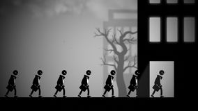 Dystopian illustration of white-collar workers going to work. Depressed white-collar workers marching to their daily office jobs. Conceptual illustration with a Royalty Free Stock Images