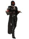 Dystopian Soldat in der Gasmaske Stockbild