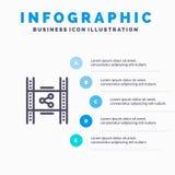 Dystrybucja, film, film, P2p, części Kreskowa ikona z 5 kroków prezentacji infographics tłem ilustracji