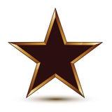 Dystyngowana wektorowa czerni gwiazda z złotym konturem, świąteczny 3d Zdjęcie Royalty Free