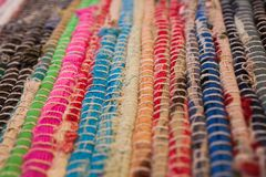 dywanowa kolorowa tekstura Tło andalusian dywan Jarapa Fotografia Stock