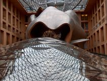 DZ Bank building. Interior of Dz Bank,designed by architect Frank Gehry stock images