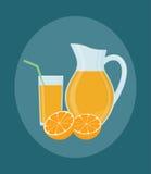 Dzbanek, szkło sok pomarańczowy i pomarańcz owoc, Obraz Royalty Free