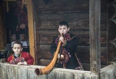 Christmas tradition in Carpathian Mountains. Dzembronia, Ivanofrankovskaya,/Ukraine - 01.06.2018: Christmas tradition in Ukraine Carpathian Mountains. Boy with Royalty Free Stock Photo