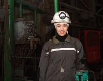 Dzerzhinsk, Ukraine - March 03, 2014: Young woman - surveyor bef Stock Images