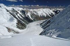 Dzerzhinsky glacier. Big pamir glacier shot from above Royalty Free Stock Photography