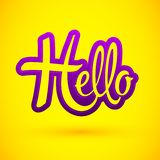 Hello Emblem vector Lettering illustration. Eps available royalty free illustration