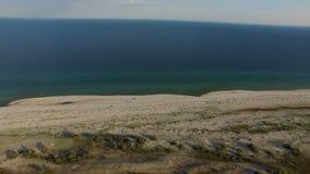 Dzharylhach海岛桑迪唾液的空中射击有大海的在夏天 股票录像