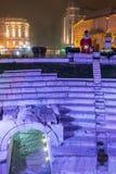 Dzhumaya清真寺、罗马体育场和圣诞节装饰在市普罗夫迪夫,保加利亚 免版税图库摄影
