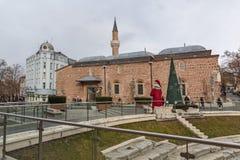 Dzhumaya清真寺和罗马体育场在市普罗夫迪夫,保加利亚 图库摄影