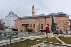 Dzhumaya moské- och romarestadion i stad av Plovdiv, Bulgarien Fotografering för Bildbyråer