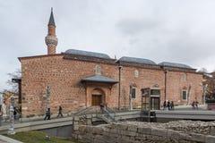 Dzhumayamoskee en Roman stadion in stad van Plovdiv, Bulgarije stock foto
