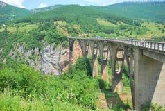 Dzhurdzhevich Bridge through a canyon Container in Montenegro. Dzhurdzhevich Bridge through a canyon Container in the mountain district of Montenegro, near Stock Image