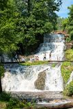 Dzhurinsky waterfall - a waterfall on the river Dzhurin in Zaleschitsky district of Ternopil region of Ukraine.. The height of the royalty free stock images