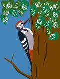 Dzięcioł na drzewie royalty ilustracja