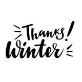 Dziękczynienia kartka z pozdrowieniami z zwrotem: Dziękuje zimę Wektor odosobniona ilustracja: szczotkarska kaligrafia, ręki lite Obraz Stock