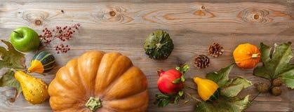 Dziękczynienia mieszkanie kłaść z kolorowymi baniami, owoc i spadek opuszcza na nieociosanym drewnianym tle, sztandar fotografia stock