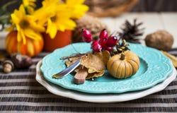Dziękczynienia położenia stołu dekoracja z cutlery, talerzami i a, obraz stock