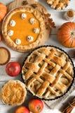 Dziękczynienie bania i jabłczani różnorodni kulebiaki zdjęcie royalty free