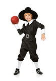 Dziękczynienie: Chłopiec pielgrzyma gracz futbolu Zdjęcia Stock