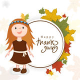 Dziękczynienie dnia świętowanie z małą śliczną dziewczyną i zaokrąglonym f Obraz Royalty Free