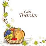 Dziękczynienie dnia świętowanie z owoc i veg koszem Zdjęcia Stock