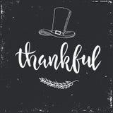 Dziękczynienie dnia rocznika prezent oznacza i karty Ręcznie pisany literowanie ilustracji