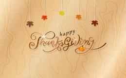Dziękczynienie, kaligrafii szczęścia tasiemkowa jesień, liście klonowi tapetuje sztuka projekta plakat na drewnianej teksturze, k ilustracji