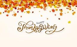 Dziękczynienie, kaligrafii wiadomości szczęścia projekta jesieni pojęcie, liście klonowi rozprasza grono w natura abstrakta tle royalty ilustracja