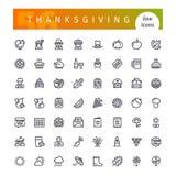Dziękczynienie Kreskowe ikony Ustawiać Obraz Stock
