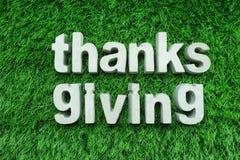 Dziękczynienie robić od betonowego abecadła odgórnego widoku na zielonej trawie zdjęcia royalty free