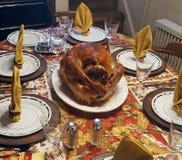 Dziękczynienie stołu i indyka obiadowy set zdjęcie royalty free