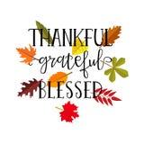 Dziękczynny wdzięczny błogosławiony prosty literowanie Kaligrafii pocztówka Obrazy Stock