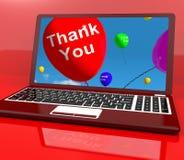 Dziękować Ty Balonowego Na Komputerze Obraz Stock