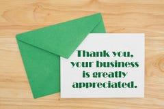 Dziękuje Ciebie dla twój biznesowej wiadomości obraz stock