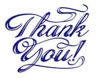 Dziękuje ciebie formułuje rękę pisać Obrazy Royalty Free
