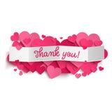 Dziękuje ciebie i różowi serca tekst na białego papieru sztandarze Obrazy Royalty Free