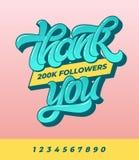 Dziękuje ciebie 200K zwolennicy Wektorowy sztandar dla ogólnospołecznych środków z szczotkarską kaligrafią na menchiach odizolowy obraz stock