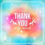 Dziękuje ciebie karcianego na miękkim kolorowym tle. zdjęcie royalty free