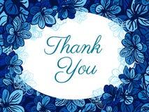 Dziękuje ciebie karcianego z błękitnymi kwiatami tła eleganci serc zaproszenia romantycznego symbolu ciepły ślub Obraz Royalty Free