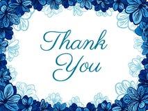Dziękuje ciebie karcianego z błękitnymi kwiatami tła eleganci serc zaproszenia romantycznego symbolu ciepły ślub Obrazy Stock