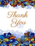 Dziękuje ciebie karcianego z colourful kwiatami tła eleganci serc zaproszenia romantycznego symbolu ciepły ślub Zdjęcie Royalty Free