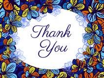 Dziękuje ciebie karcianego z colourful kwiatami tła eleganci serc zaproszenia romantycznego symbolu ciepły ślub Fotografia Royalty Free